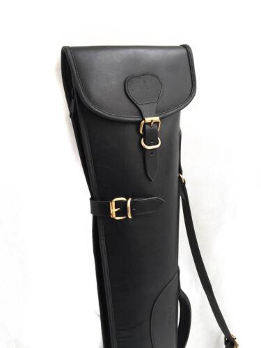 Thick Rigid Waxed Black Distressed Leather Shotgun Slip Case John Shooter®