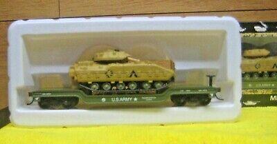 HO BACHMANN US ARMY M-47 TANK ON DEPRESSED CAR # 18347-M US ARMY