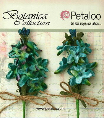 LILACS Velvet Fabric TEAL 2PullApartSprays 12 Mini Flowers 15-20mm/&Buds Petal V1