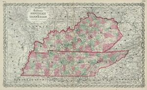"""1867 Colton's  """"Kentucky & Tennessee""""-original, ex-atlas, hand color"""