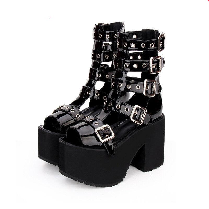 Schwarz Gothic Punk Rock Damen-stiefel Stiefeletten boot Sandale High heel cool