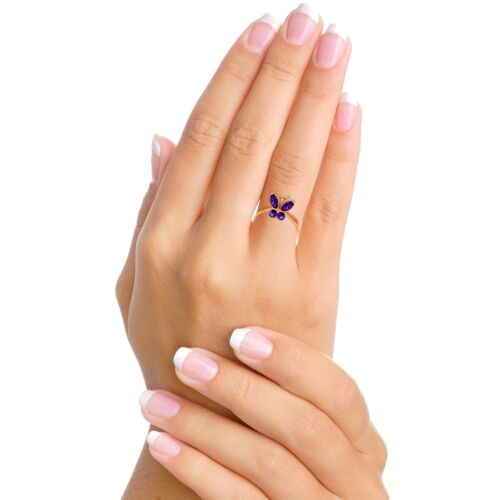 Genuine Purple Amethyst Gemstones Butterfly Ring 14K Yellow White or Rose Gold