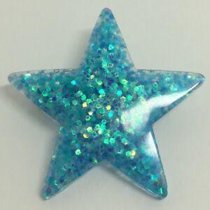 Mermaid-blue-Large-Star-Glitter-Charms-Resin-Brooch-Pin-Badge-G010-Kitsch-Fun