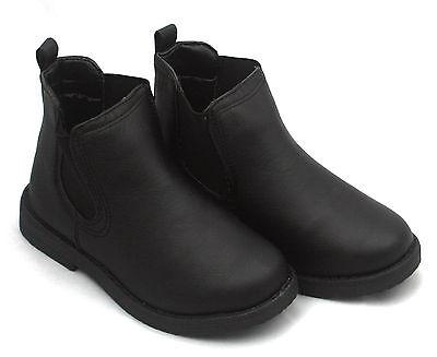 Niño Niña Chelsea Botines ELEGANTE NEGROS SIN CIERRES Zapatos de colegio 11-5