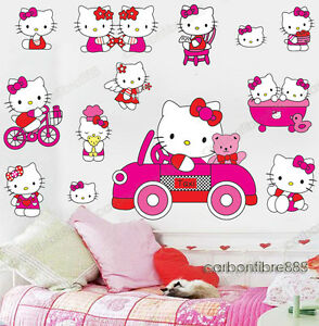 Image Is Loading Large Pink HELLO KITTY Wall Stickers Girls Room