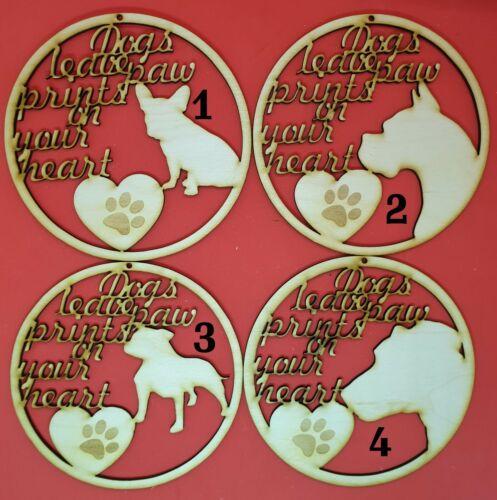 WOODEN DOG SIGN laser cut wood crafts blank shape embellishment dog memorial