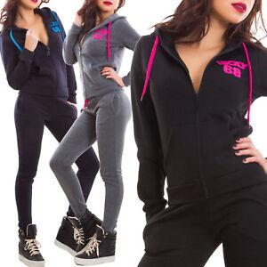 best service 92bf5 cd1f9 Dettagli su Tuta donna completo pantaloni fitness cappuccio scritte sport  zip nuova J903