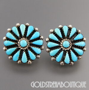 Image Is Loading Benson Yazzie Navajo Sterling Silver Turquoise Cer Flower
