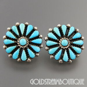 Details About Benson Yazzie Navajo Sterling Silver Turquoise Cer Flower Post Earrings