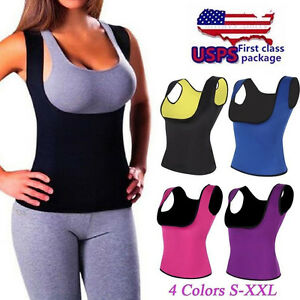 fc92a49fcf58d Push Up Neoprene Womens Slimming Vest Sweat Body Shaper Shirt Sauna ...