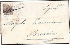 LOMBARDO VENETO 1853 -  30 Cent. n. 7 SPL MILANO X BRESCIA punti 8 € 1.260+