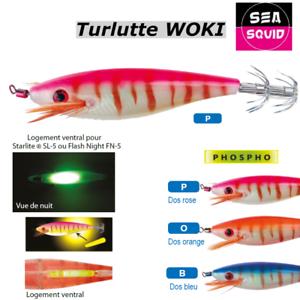Turlutte Jig SEA SQUID phospho WOKI logement Starlite®  2 starlite gratuit//free