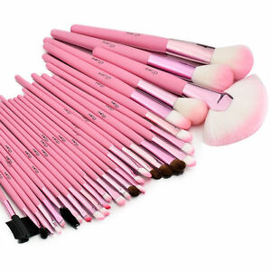 f3ea394a05fe Details about Glow Pink 30 Professional Makeup Brushes Set in Crocodile  Leather Design Case