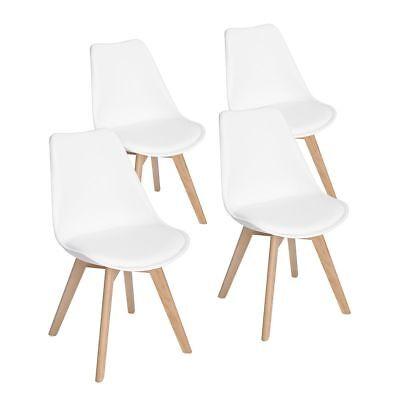 Lot de 4 chaises de cuisine en bois rétro Tulip rembourrée Chaise de salle de bu