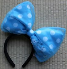 Tokyo Disney Resort HEAD ACCESSORY LIGHT BLUE large bow MINNIE MOUSE Autographed