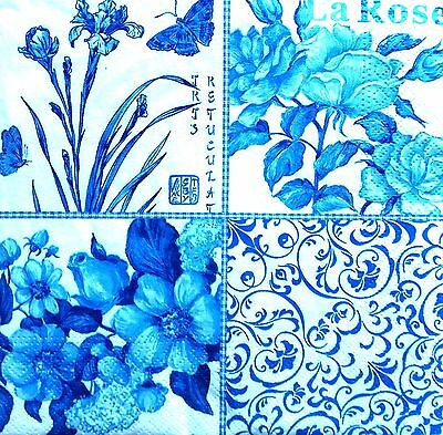 4 Single Lunch Paper Napkins for Decoupage Party Craft Vintage Blue Collage
