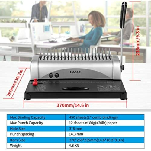 """Details about  /Binding Machine 450 Sheets With Starter Kit 100 Pcs 3//8/"""" FREE SHIP 21-Holes"""