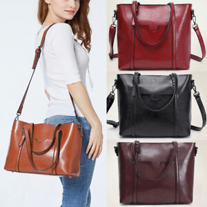 5ff6c6c64055 In Lady Oil Wax Leather Tote Purse Messenger Crossbody Bag Handbag ...