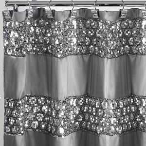Image Is Loading Metallic Silver Glitter Shower Curtain Sequin Bathroom Decor