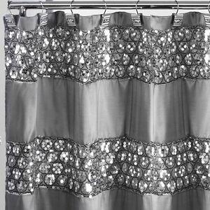Metallic Silver Glitter Shower Curtain Sequin Bathroom Decor Shiny ...