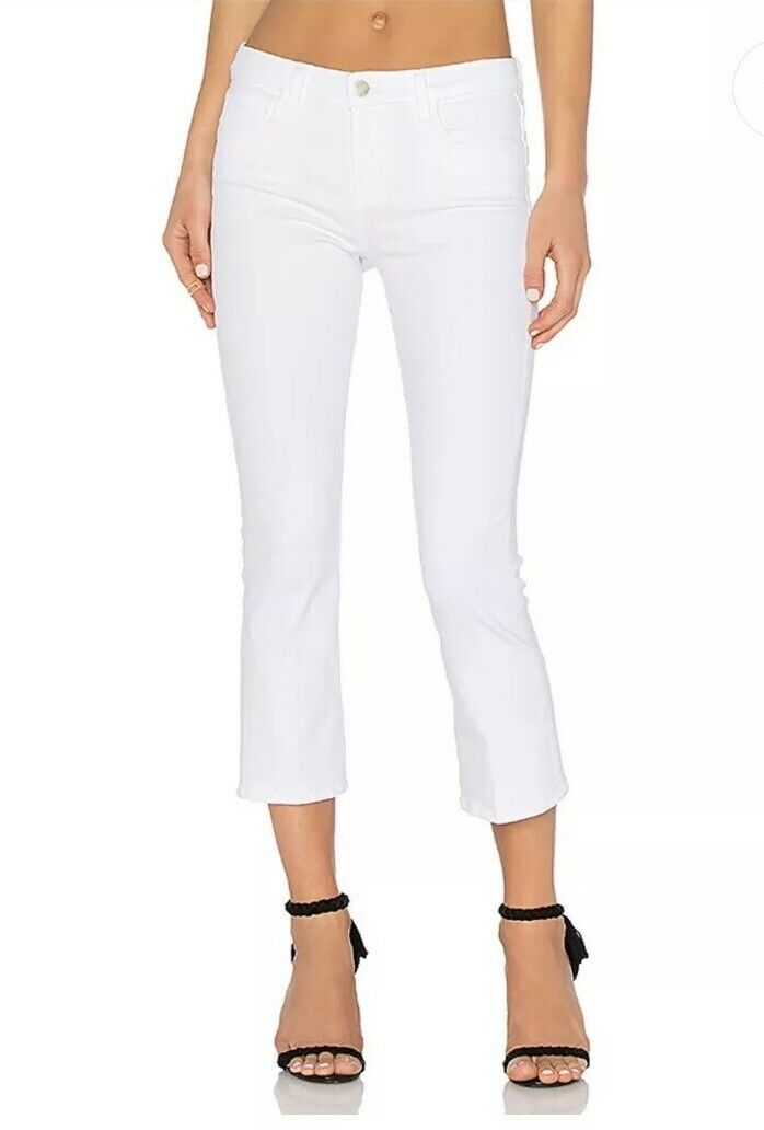 L'Agence Charlotte Mid-Rise Crop Flare white Sz 27