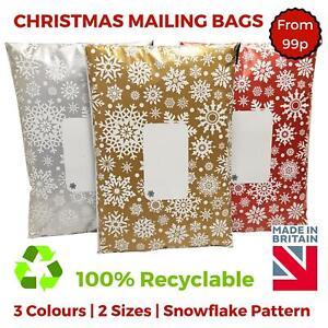 Printed-Christmas-Xmas-Snowflake-Mail-Mailing-Bags-Poly-Postal-Strong-Self-Seal