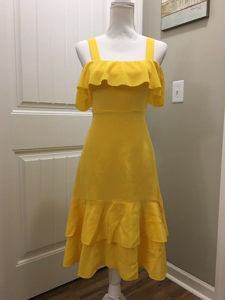 New J Crew Collection Cold-shoulder Silk Dress Yellow Sz 000 G6265
