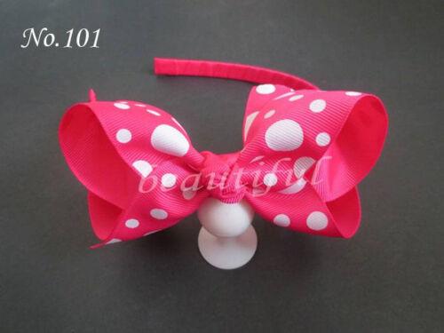 """100 BLESSING Boutique Good Girl Woven Headband 4.5-5/"""" B-ABC Hair Bow Clip 149No."""