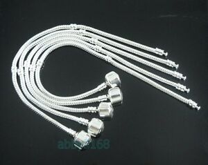10-Snake-Chain-Silver-Plated-Charm-Bracelets-Fit-European-Beads-Choose-Size-L01