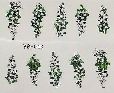 Edle,hochwertige Tattoos Sticker ONE STROKE BLÜTEN teils mit Glitter yb-043