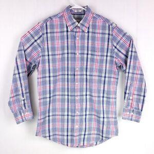 Peter Millar Mens sz M Blue Pink Grey Plaid Long Sleeve Button Down Dress Shirt