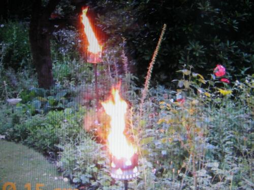 Hirsch Gartenfackel Metall Rost Windlicht Brenndose Feuerschale Wild