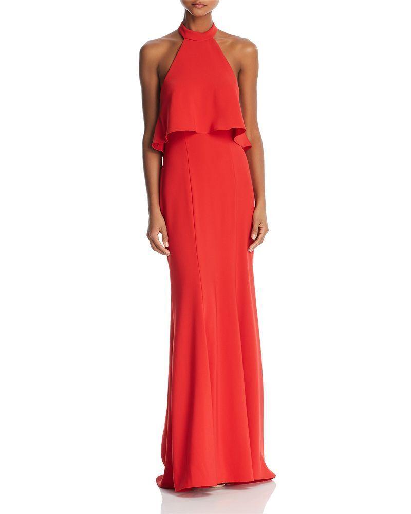 Avery  328 328 328 G Para Mujer Rojo Volante Recortar formal sin mangas de cuello halter vestido Talla 4 4f954b
