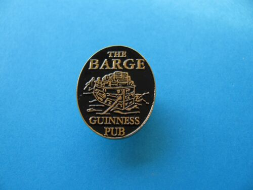 "Canal /"" THE BARGE /"" Guinness Pub Pin Badge Black on Gold Coloured Metal."