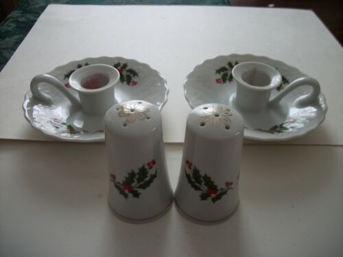 Vintage Holly Candle Holders and Salt and Pepper Shakers Japan