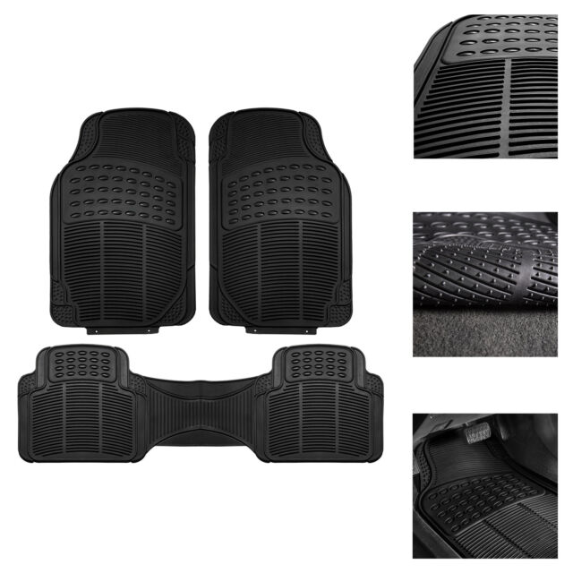 3 Piece Full Set Trimmable Heavy Duty FH Group F11306BLACK black All Weather Floor Mat