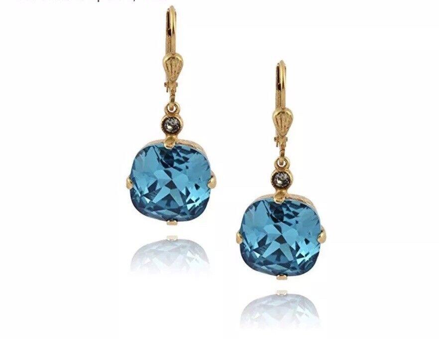 Catherine Popesco La Vie Parisienne Teal gold Drop Earrings 12mm 6556G