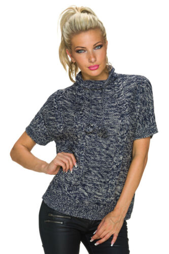 Damen Kurzarm Pullover Pulli Sweater Shirt Bommeln S M 34 36 38 warm elegant Top