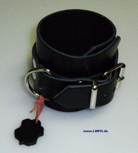2 super schwarze Lederarmbänder 26,5 x 4,0 mit Metallring Lederriemen Schnallen