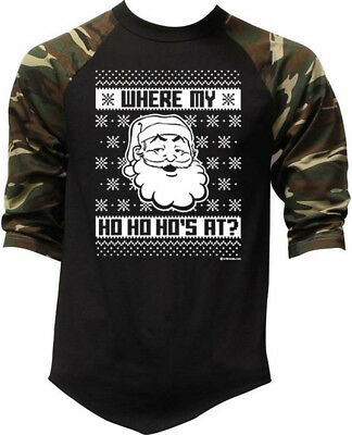 Mens Santa Where My Ho Ho Ho Black//Camo Raglan Baseball Sweatshirt Black