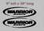 """133 YOUR COLOR CHOICE PAIR OF 9/"""" X 30/"""" WARRIOR BOATS HULL DECALS MARINE GRADE"""