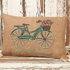 "Pretty Primitive Country Rustic "" ENJOY THE JOURNEY "" Bicycle Burlap Pillow"