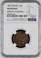 Straits Settlements Victoria 1883 1/2 cent AU DETAILS RARE YEAR