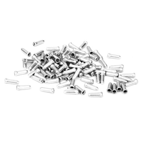 100 Aluminium Bicycle Bike Shifter Brake Gear Cable Tail Tips Caps End Crimp