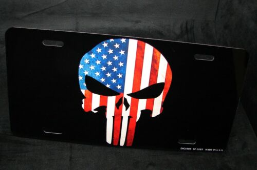 PUNISHER SKULL LICENSE PLATE TAG FOR CARS AMERICAN FLAG PATRIOTIC...