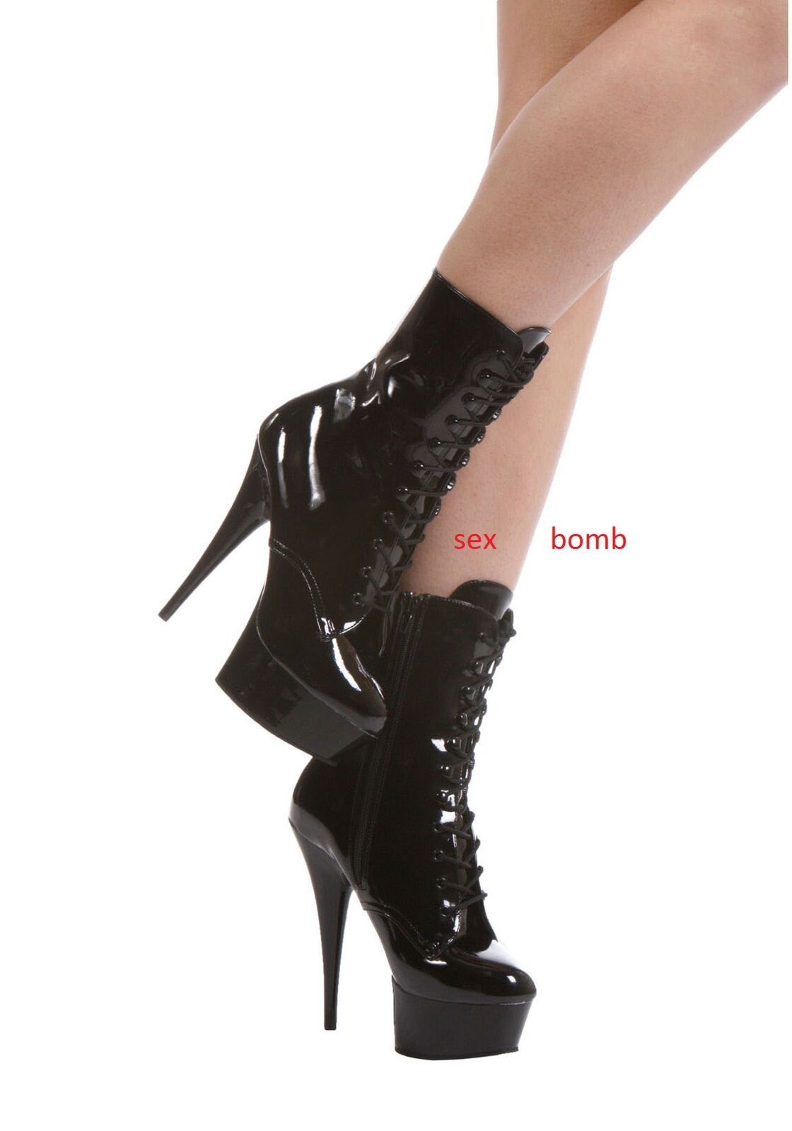 SEXY stivali STIVALETTI nero LUCIDO plateau TACCO 15 dal 36 a 44 fashion GLAMOUR