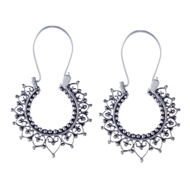 Silverly .925 Sterling Silver Indian Filigree Round 27 mm Hoop Ethnic Earrings
