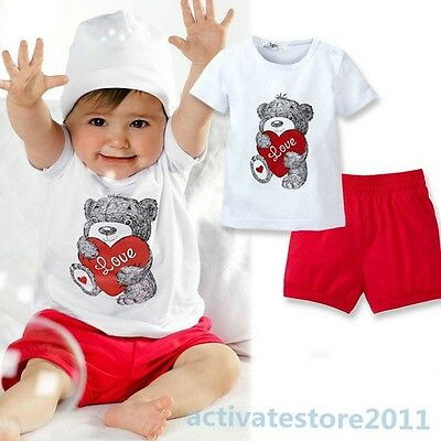 New 2Pcs Baby Kids Tops+Pants Heart Bear Pattern Outfits Set Clothes 0-3 Year