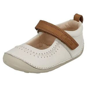 baebe188abc Details about Clarks Girls Little Atlas White Leather First Shoe Cruisers