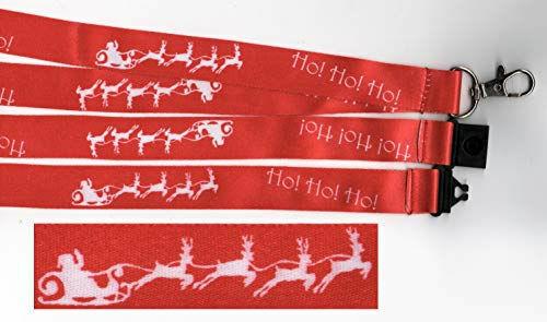 1 X Ho! Ho! Ho! Santa's Trineo Rojo Navidad Festivo Impreso Breakaway Cordón